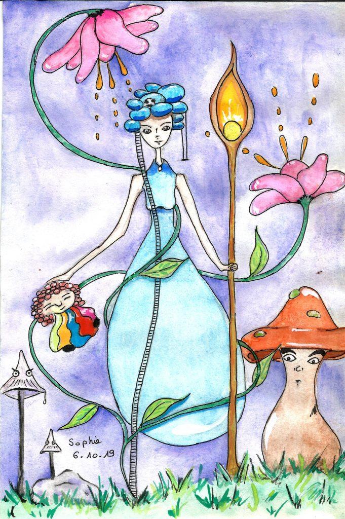 Une jolie grande fée de l'eau, et ses amis en aquarelle.